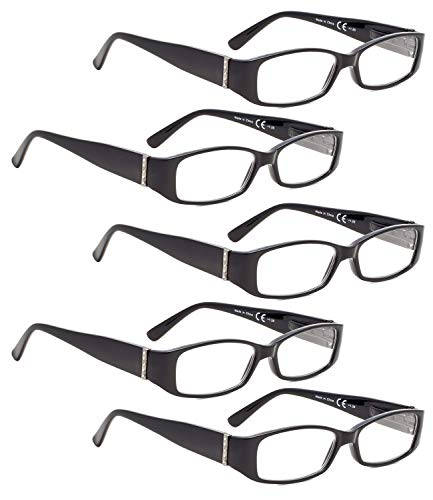 READING GLASSES 5 pack Arms with Genuine Austrian Crystals Readers for Women (Black, 2.75)