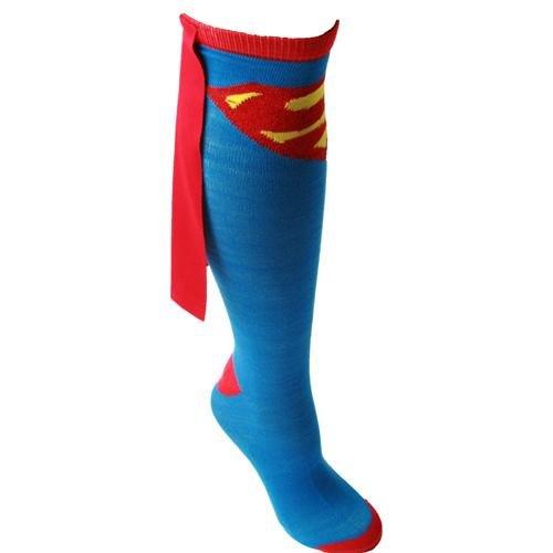 Bioworld Superman Blue Adult Knee High Cape Sock, One - Cape Socks