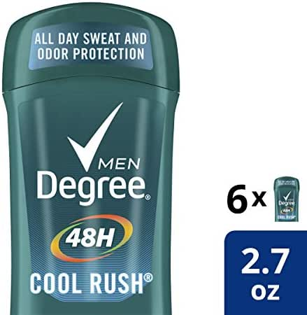 Degree Men Antiperspirant Deodorant odor and sweat protection Cool Rush 48 hour 2.7 oz 6 count