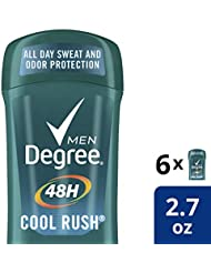 Degree Men's 48 hour Antiperspirant Deodorant, Cool Rush, 2.7 Ounce (Pack of 6) - Packaging May Vary