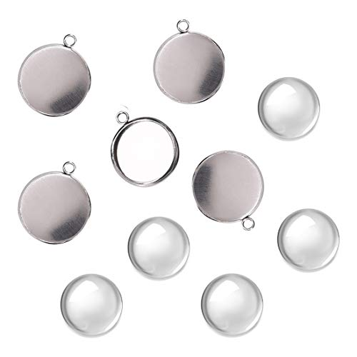 (DROLE 100Pcs Bezel Pendant Blanks Kit-50Pcs Stainless Steel Pendant Trays Round Bezel with 50Pcs Glass Cabochons Clear Dome,16mm Pendant Blanks for Photo Pendant Craft Jewelry Making)