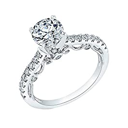1.95 Ct Round Cut Simulated Diamond Solitaire Engagement Ring 14k Real White Gold