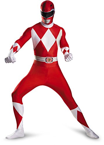 Mighty Morphin Power Ranger Costumes Adults (Disguise Sabans Mighty Morphin Power Rangers Red Ranger Bodysuit Adult Costume, Red/White, Medium/38-40)