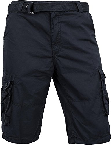 MP Mens Premium Cargo Shorts With Belt Outdoor Twill Cotton Loose Fit Multi Pocket Pants (40, Navy) ()