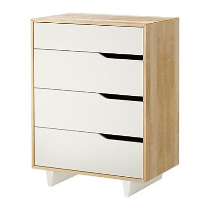 IKEA MANDAL - Cómoda de 4 cajones, abedul, blanco - 79x103 ...