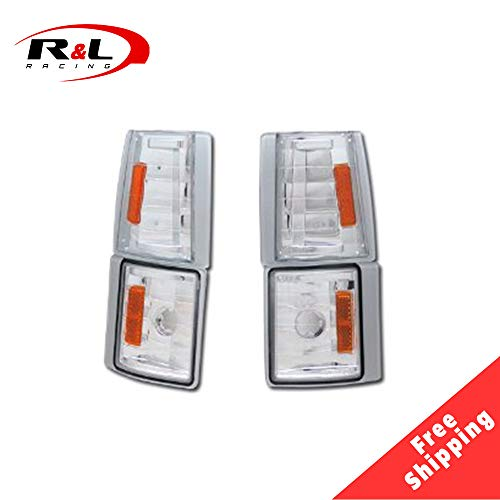 R&L Racing Chrome Clear Parking Corner Lights Euro Amber Signal Lamps K2 1994-2000 for GMC C10 Ck C/K Pickup/Suv ()