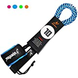 10' Coiled SUP Leash Stand up Paddle Board with Blue Orange Pink Green cuff options| Inflatable SUP Board Legrope| Paddleboard Leash with Double Stainless Steel Swivels and Triple Rail Saver