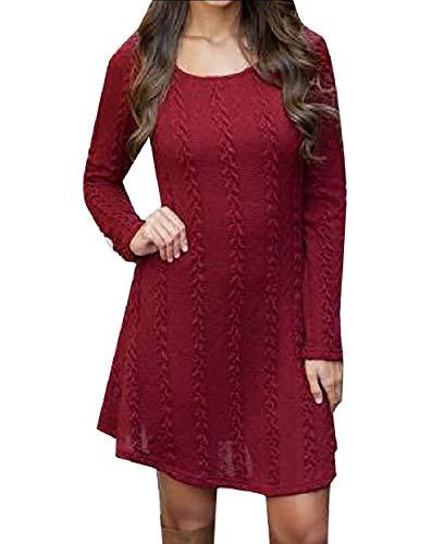 Dress Wine Slim Size Tunic Plus Sexy Casual Sleeve Red willwin Long Women's Knit qgxPwvt