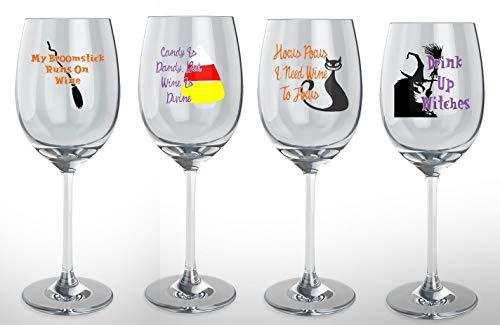 Halloween Wine Glass 4 Piece Set -