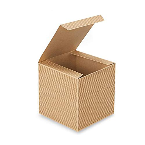 AwePackage 12 Count of Pinstripe Kraft Gift Box - 6x6x6
