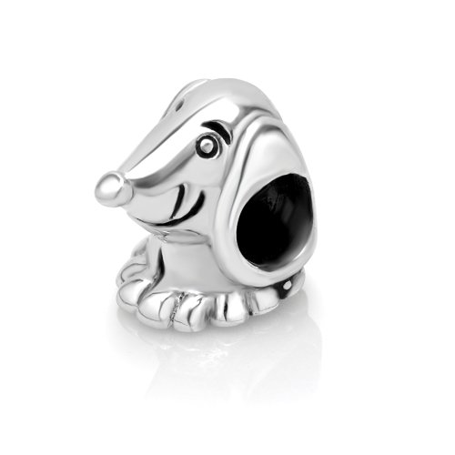 925 Sterling Silver Dachshund Dog Bead Charm Fit Major Brand Bracelet