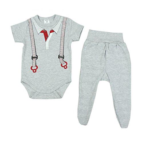 2er Baby Bekleidungsset für Mädchen oder Jungen: Kurzarm-Body mit Aufdruck & Strampelhose mit Fuß, Farbe: Träger Kragen Weiß, Größe: 74
