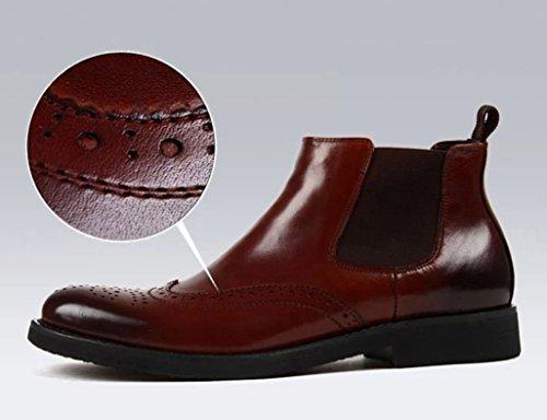 Piel Cortas uk5 Tamaño Botas 5 Boots Martin Clásicos Red Para Zapatos Británico Eu38 brown Color Estilo Tacón Alto Hombres De Hombre Cuero EfCSnvqxw