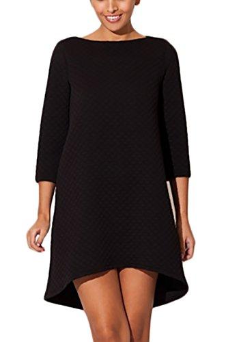Damen Kleid Asymmetrisch Cocktailkleid Tunika gesteppt Schwarz Weiß ...