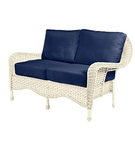 (Prospect Hill Outdoor Patio Deep Seating Love Seat Furniture - Includes Cushions - All Weather Woven Resin and Aluminum Frame, 54.75 W x 30 D x 35.5 H - Cloud White with Midnight Navy Cushions)
