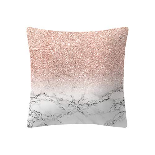 - ❤️Jonerytime❤️ Rose Gold Pink Cushion Cover Square Pillowcase Home Decoratio (A)
