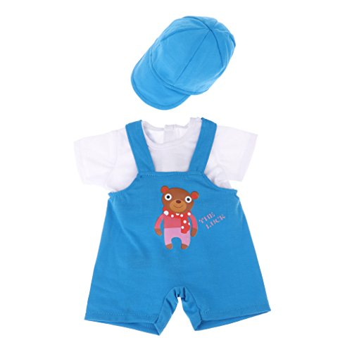 Homyl New Doll Clothes Three-piece Suit White Tops Suspender Matching Cap for 18''American Doll Accessory Blue