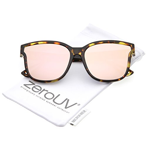 zeroUV - Women's Horn Rim Metal Accent Mirrored Square Flat Lens Cat Eye Sunglasses 55mm (Tortoise / Pink - Cat Eye Sunglasses Subtle
