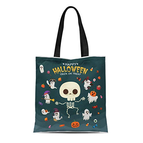 (Semtomn Canvas Bag Resuable Tote Grocery Adorable Shopping Portablebags Broomstick Vintage Halloween with Witch Ghost Vampire Mummy Pirate Skeleton Natural 14 x 16 Inches Canvas Cloth Tote)