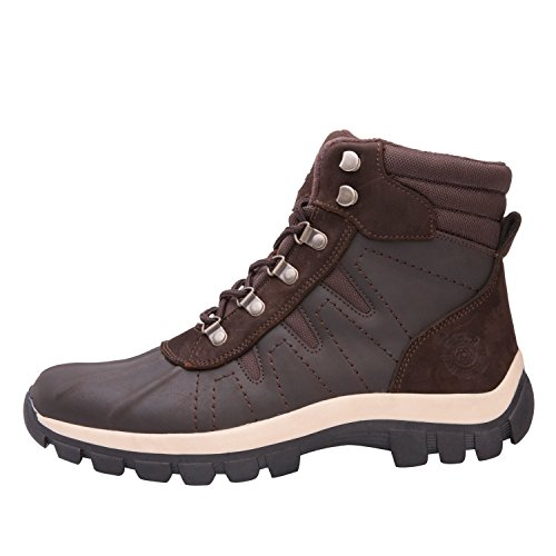 Kingshow Heren M0705 Waterbestendig Lederen Rubberen Zool Winter Snowboots Brown302