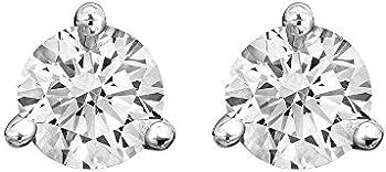 Round Diamond 3 Prong Martini Earrings