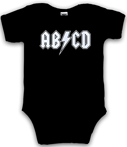 Baby Rock Tees (Baby ABCD Creeper Funny Metal Band Rock Logo Romper for Infants and Toddlers (black) 12 Months)
