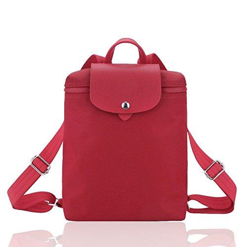SJMMBB Waterproof Thickened Nylon Oxford Bag Handbag Knapsack,Gules,24X23X10Cm