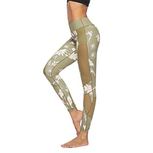 Mint Lilac Women's Printed Full-Length Leggings Athletic Workout Pant with Mesh Panels