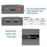HDMI Splitter 4K Aluminum 2 Way HDMI Splitter 1 in