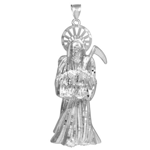 Skeleton Jewelry Men's Solid 925 Silver 3.5-Inch Charm Santa Muerte Pendant (Grande)