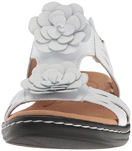 Women's Leather Clarks Claytin White Flat Leisa Sandal PxqxH7f