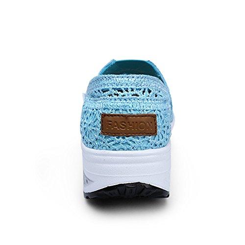 Semelles Chaussures Printemps F de Automne Marche Chaussures Rond Trou Creepers Chaussures Tulle Été Forme Coin Creepers Femmes Légères Bout Athlétique Chaussures Plate Talon zBYEqOB