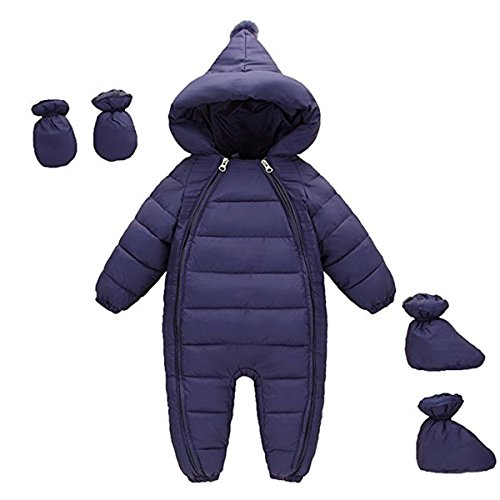 3Pcs Baby Girls Boys One Piece WZipper Down Jacket Winter Romper Jumpsuit Romper+Gloves+Shoes 18-24 Months by JELEUON
