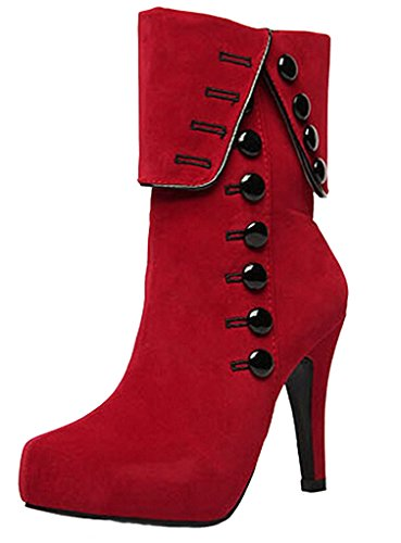 DADAWEN Women's Suede High Heel Side Zipper Ankle Boots Red