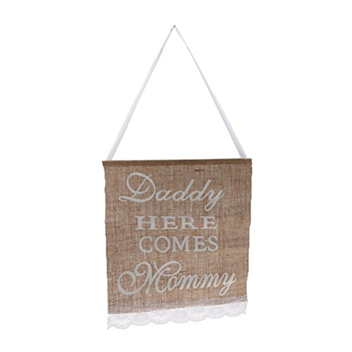 WINOMO Daddy Here Comes Mommy Burlap Banner Rustic Country Wedding Hanging Sign