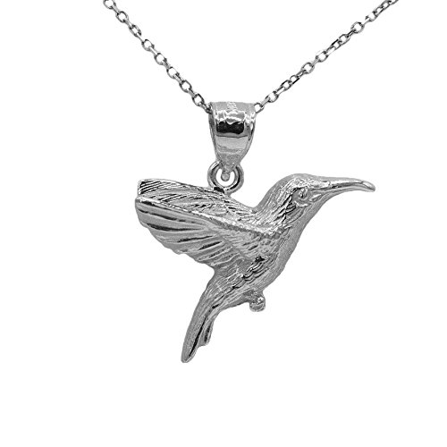 14k White Gold Hummingbird Pendant (18'' Mariner Chain) by Ice on Fire Jewelry