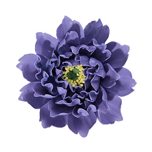 ALYCASO Artificial Flowers Wall Decoration for Living Room Bedroom Hanging 3D Wall Art Ceramic Flower Pediments Sculpture, Purple, 5.9 inch