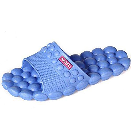 Madeli Poids Léger Spa Massage Mousse Anti-dérapant Salle De Bains Douche Ménage Pantoufles De Plage Sandale Bleu