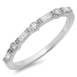 0.15 Carat (ctw) 10K Gold Round & Baguette Diamond Ladies Millgrain Anniversary Wedding Band