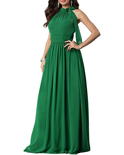 (Aofur New Lace Long Chiffon Formal Evening Bridesmaid Dresses Maxi Party Ball Prom Gown Dress Plus Size (XXX-Large, Green Short Sleeve))