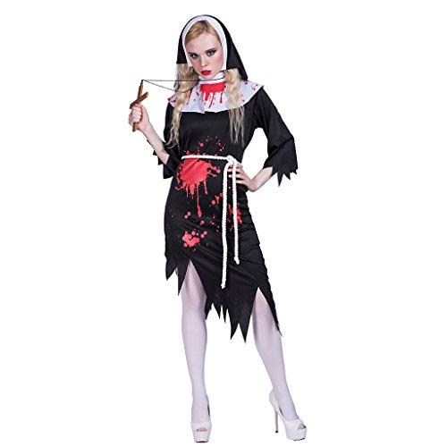 EraSpooky Halloween Women's Zombie Nun Bloody Costume(Black, Medium)