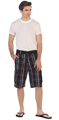 (Gioberti Men's Plaid Belted Cargo Shorts, Red Highlight/Black, Size 30)
