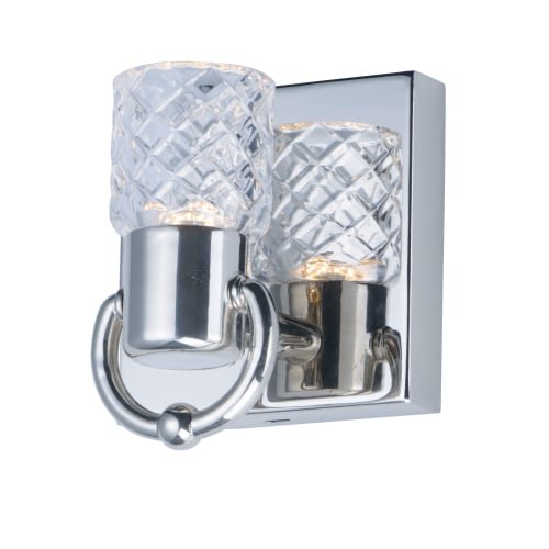 Maxim 24701CLPN Crystol 1 Light LED Wall Sconce Bath Vanity, Polished Nickel Finish, Clear Glass, PCB LED Bulb , 40W Max., Dry Safety Rating, Standard Dimmable, Shade Material, 2400 Rated Lumens