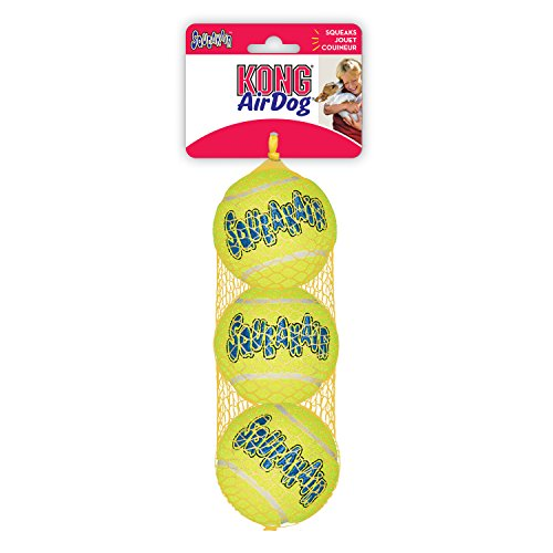 KONG Air Dog Squeakair Dog Toy Tennis Balls, Medium, 3-Pack (Dog Tennis Ball)