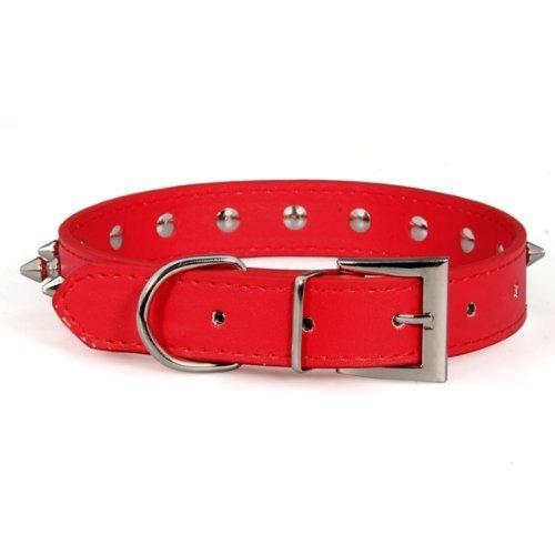Collar cuero PU polipiel espina pinchos Punky ajustable para perro rojo