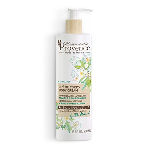 Natural Dry & Sensitive Body Cream - Mademoiselle Provence - Nourishing & Emollient Skin Lotion - Shea Butter, Organic Almond & Orange Blossom - For the Whole Family - 100% Made in France - 13.5 Fl Oz