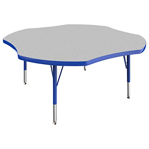 ECR4Kids Thermo-fused 48'' Clover School Activity Table, Toddler Legs w/ Swivel Glides, Adjustable Height 15-23 inch (Grey/Blue) by ECR4Kids