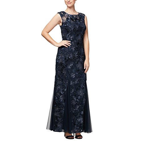 Alex Evenings Women's Embroidered Dress with Illusion Neckline, Navy Lace 16