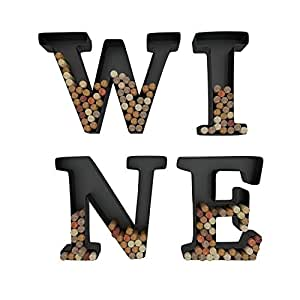 Wine Letter Cork Holder Art Wall Décor - Metal - All 4 Letters W I N E - Includes Sample Silicone Wine Glass Charm - by HouseVines