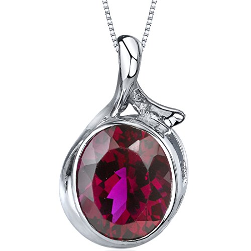 (Boldly Colorful 5.75 carats Oval Cut Sterling Silver Rhodium Nickel Finish Created Ruby Pendant)